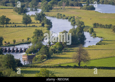 Looking down on Days Lock on the River Thames near Dorchester-on-Thames, viewed from Round Hill, Wittenham Clumps, Oxfordshire - Stock Photo