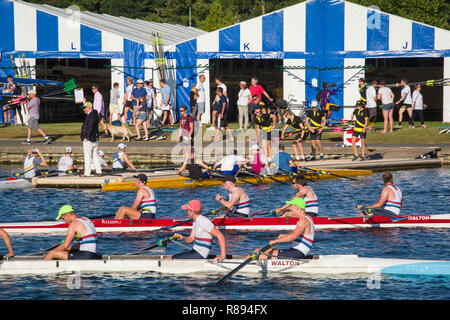 Qualifying day at Henley Royal Regatta where crews from all around the world take to the water - Stock Photo