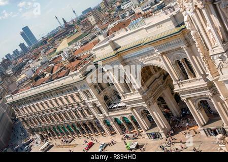 Horizontal aerial view of Galleria Vittorio Emanuele II shopping centre in Milan, Italy. - Stock Photo