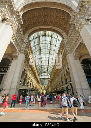 Vertical view of Galleria Vittorio Emanuele II shopping centre in Milan, Italy. - Stock Photo