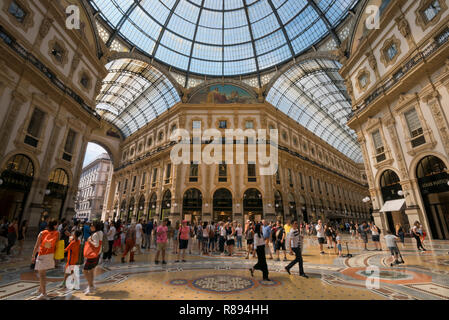 Horizontal view inside Galleria Vittorio Emanuele II in Milan, Italy. - Stock Photo