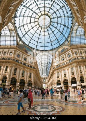 Vertical view inside Galleria Vittorio Emanuele II in Milan, Italy. - Stock Photo