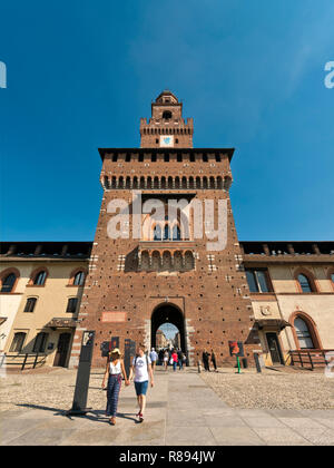 Vertical view inside Sforza castle in Milan, Italy. - Stock Photo