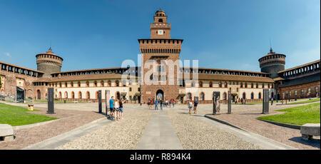Horizontal view inside Sforza castle in Milan, Italy. - Stock Photo