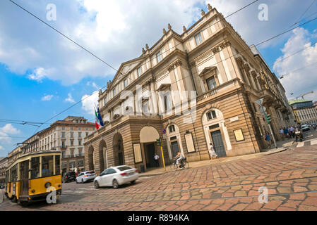 Horizontal view of La Scala in Milan, Italy. - Stock Photo