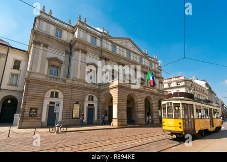 Horizontal view of La Scala in Milan, Italy. - Stock Photo
