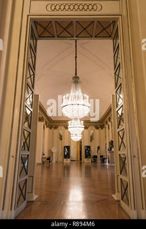 Vertical view inside La Scala in Milan, Italy. - Stock Photo