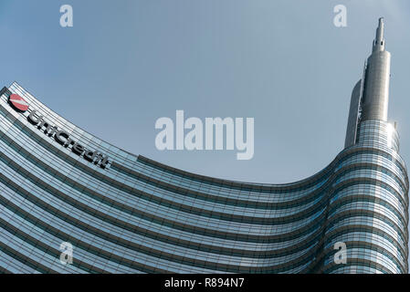 Horizontal abstract view of the UniCredit Tower in Milan, Italy. - Stock Photo