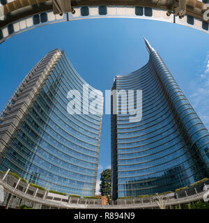 Square view of the UniCredit Tower in Milan, Italy. - Stock Photo