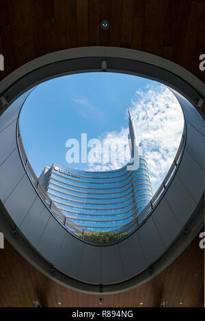 Vertical view of the UniCredit Tower in Milan, Italy. - Stock Photo