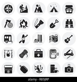 Camping icons set on circles background for graphic and web design, Modern simple vector sign. Internet concept. Trendy symbol for website design web button or mobile app. - Stock Photo