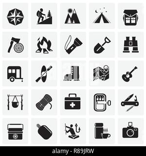 Camping icons set on squares background for graphic and web design, Modern simple vector sign. Internet concept. Trendy symbol for website design web button or mobile app. - Stock Photo