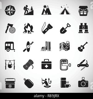 Camping icons set on white background for graphic and web design, Modern simple vector sign. Internet concept. Trendy symbol for website design web button or mobile app. - Stock Photo
