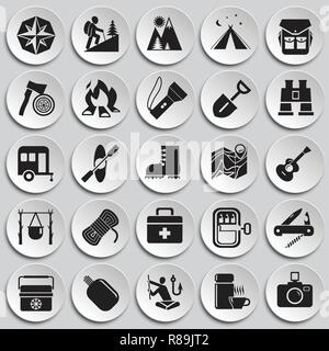 Camping icons set on plates background for graphic and web design, Modern simple vector sign. Internet concept. Trendy symbol for website design web button or mobile app. - Stock Photo