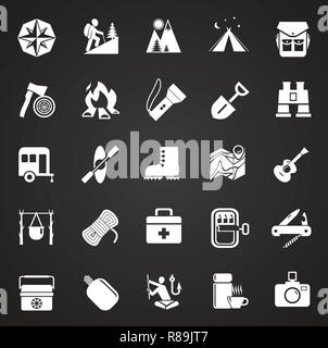 Camping icons set on black background for graphic and web design, Modern simple vector sign. Internet concept. Trendy symbol for website design web button or mobile app. - Stock Photo