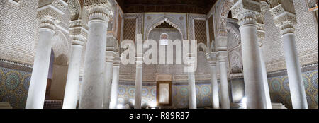The Saadian Tombs, Marrakech - Panorama of the Hall of 12 columns, the Saadian Tombs, Marrakesh, Morocco North Africa - Stock Photo