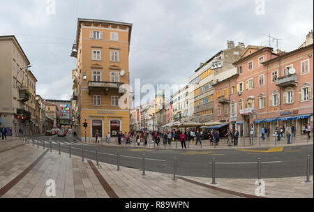 RIJEKA, CROATIA - OCTOBER 17: Korzo in Rijeka on OCTOBER 17, 2014. Main walking street in downtown Rijeka, Croatia. - Stock Photo