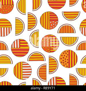 Hand drawn abstract oranges seamless pattern. Vector colorful background in modern style. Striped funny texture for surface designs, textiles, wrappin - Stock Photo