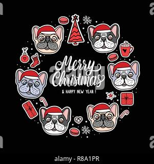 Card French and American Bulldog Puppy in Merry Christmas santa hats. Frame lettering. Vector Illustration dog hand drawn stickers - Stock Photo