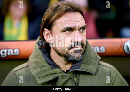 Norwich City manager Daniel Farke during the Sky Bet Championship match at Carrow Road, Norwich. - Stock Photo