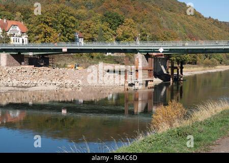 Old river Weser bridge at Bad Karlshafen, Upper Weser Valley,  Weser Uplands, Weserbergland, Hesse, Germany, Europe - Stock Photo