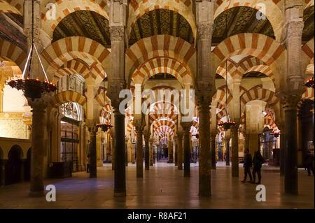 Interior of the Cordoba Mosque, Cathedral, cordova, Great mosque of Cordoba, La mezquita, Andalusia, Southern Spain. - Stock Photo