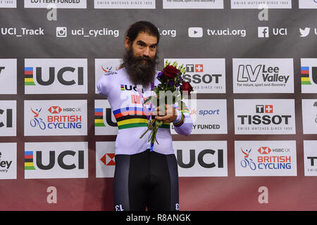 London, UK. 14th December, 2018. BERENYI Joseph (USA) at the winner's presentation during Tissot UCI Track Cycling World Cup IV at Lee Valley VeloPark on Friday, 14 December 2018. LONDON ENGLAND.  (Editorial use only, license required for commercial use. No use in betting, games or a single club/league/player publications.) Credit: Taka Wu/Alamy Live News Stock Photo