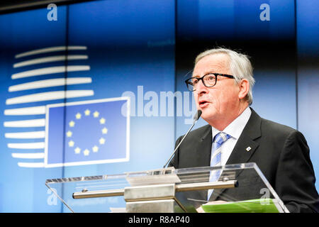 Brussels, Belgium. 14th Dec 2018. Jean-Claude Junker, President of European Commission during a press conference during European Council Summit in Brussels, Belgium on December 14, 2018. Credit: Michal Busko/Alamy Live News - Stock Photo