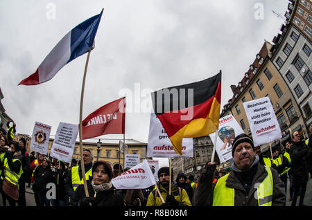 Munich, Bavaria, Germany. 15th Dec, 2018. Demonstrators at a Yellow Vests rally in Munich, Germany wave French and German flags together. In an attempt to bring the revolutionary Gilets Jaunes movement from France to Germany, the 'Aufstehen'' group ('Stand Up'') organized a Yellow Vest demonstration at Munich's Max Joseph Platz to demand reforms to solve the rental crisis, lack of housing, privatization, and other issues in the city. Approximately 60 attended. In previous weeks, right extremists and neo-nazi vigilante groups have been documented as demonstrating as the Yellow Ves Credit: ZUM - Stock Photo
