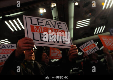London, UK. 15th December, 2018. Placards waving, angry Brexiteers were out in force, at the Leave Means Leave campaign event in London. Brexiteers are unhappy with PM Theresa May's poor handling of the exit deal with the EU. Credit: Dario Earl/Alamy Live News - Stock Photo