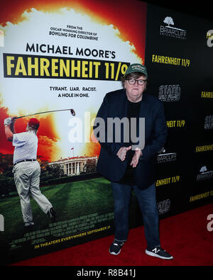 BEVERLY HILLS, LOS ANGELES, CA, USA - SEPTEMBER 19: Michael Moore at the Los Angeles Premiere Of Briarcliff Entertainment's 'Fahrenheit 11/9' held at the Samuel Goldwyn Theater at The Academy of Motion Picture Arts and Sciences on September 19, 2018 in Beverly Hills, Los Angeles, California, United States. (Photo by Xavier Collin/Image Press Agency) - Stock Photo
