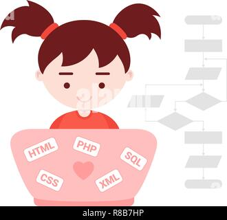 Young girl learns web programming - Stock Photo