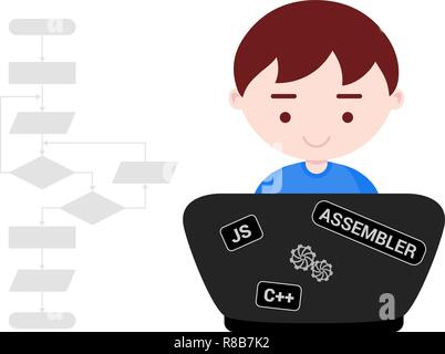 Young boy learns programming - Stock Photo