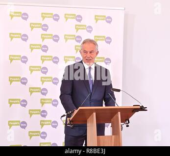 TONY BLAIR 14 DECEMBER 2018 THE BRITISH ACADEMY SPEECH ON CONTINUING BREXIT CHAOS - Stock Photo