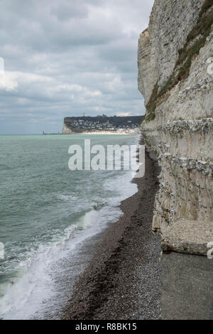 Opale Coast, Picardy, France, layers of flint in chalk cliffs, cretaceous, sedimentary rock - Stock Photo