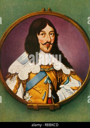 """'Ludwig XIII', (1933). Portrait of King Louis XIII of France (1601-1643), who reigned from 1610. He was the son of Henri IV and Marie de' Medici, and the father of Louis XIV. After a miniature by Henri Toutin. From """"Gestalten Der Weltgeschichte"""", a book of cigarette-card portrait miniatures of figures in world history from the last four hundred years. [Germany, 1933] - Stock Photo"""