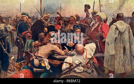 'The Cossacks' Reply to the Sultan (Zaporozhtsy)', c1890, (1939). 'Reply of the Zaporozhian Cossacks to Sultan Mehmed IV of Turkey', also known as 'Cossacks of Saporog Are Drafting a Manifesto', 19th-century imagining of a supposed historical event of 1676, based on the legend of Cossacks sending an apparently rude and insulting reply to an ultimatum from Sultan Mehmed IV of the Ottoman Empire. 'On the right is Taras Bulba (in a white cap), the hero of Gogol's tale of the same name; on the left is Andrei, Taras Bulba's son; almost in the centre sits Ataman (Chief) Serko with a pipe in his mout - Stock Photo
