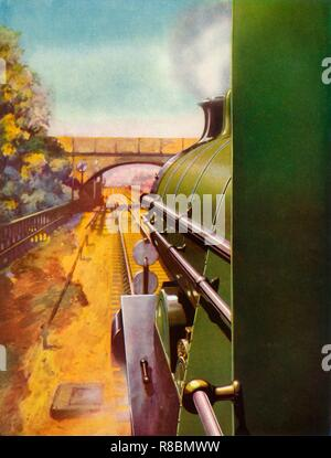 'A Clear Road from the cab of a Southern Railway 'Atlantic' locomotive', 1935. Creator: Unknown. - Stock Photo
