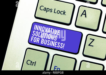 Conceptual hand writing showing Innovative Solutions For Business. Business photo showcasing Modern ideas applied to companies Keyboard Intention to c - Stock Photo