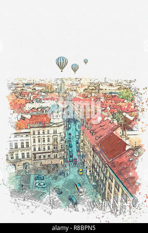 Watercolor sketch or illustration of the view on the ancient architecture of Prague. City street with road, cars and people. Hot air balloons are flying in the sky. - Stock Photo