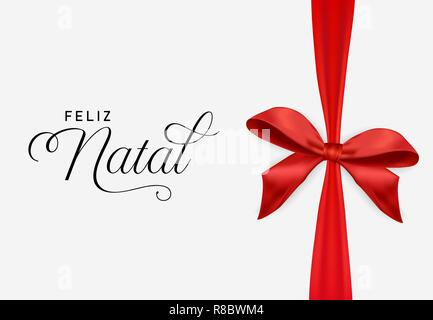 Red Christmas gift ribbon greeting card illustration in portuguese language. Holiday present bow background for natal season greetings. - Stock Photo