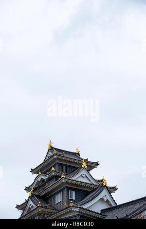 Okayama Castle, a historic samurai castle in Okayama, Japan. - Stock Photo