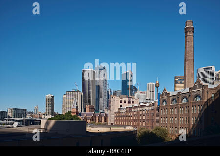 View of the Sydney skyline with the area known as The Rocks and the Sydney Central Bussiness District in the back ground, Sydney, NSW, Australia - Stock Photo