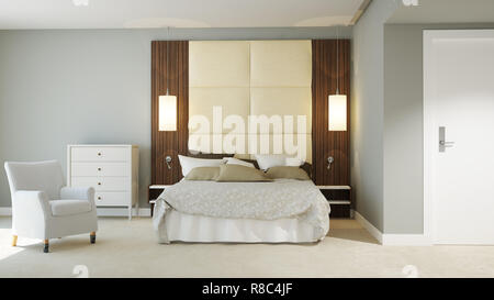 3D rendered hotel room - Stock Photo