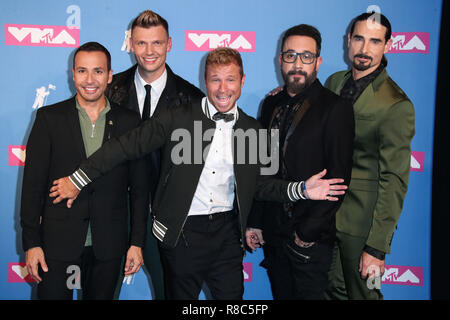 MANHATTAN, NEW YORK CITY, NY, USA - AUGUST 20: Howie Dorough, Nick Carter, Brian Littrell, AJ McClean, Kevin Richardson, Backstreet Boys in the press room at the 2018 MTV Video Music Awards held at the Radio City Music Hall on August 20, 2018 in Manhattan, New York City, New York, United States. (Photo by Xavier Collin/Image Press Agency) - Stock Photo