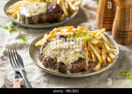Homemade Steak Au Poivre with Pepper Sauce - Stock Photo