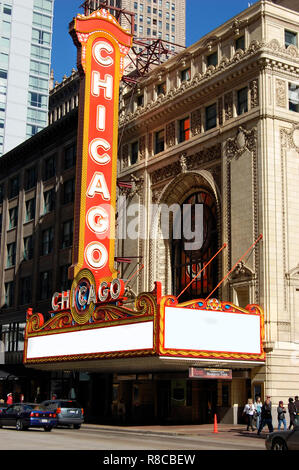 Chicago Theatre located on State Street in downtown Chicago, Illinois USA - Stock Photo