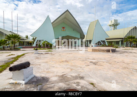 Maneaba ni Maungatabu (Parliament of Kiribati), complex of buildings on a Tarawa atoll lagoon motu. House of Assembly, Ambo, South Tarawa, Kiribati, G - Stock Photo