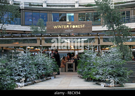 The Winter Forest bar and grill with Christmas trees at Broadgate Circle in The City of London England UK  KATHY DEWITT - Stock Photo