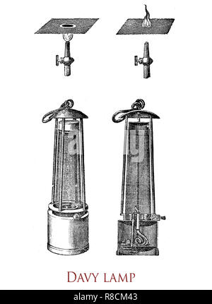Vintage engraving of the Davy lamp, safety lamp for use in flammable atmospheres like coal mines, invented in 1815 by Sir Humphrey Davy. It consists of a wick lamp with the flame enclosed inside a mesh screen - Stock Photo